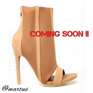 Tan Heel Open Toe Booties 